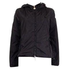 MONCLER black nylon BELTED WINDBREAKER Jacket 2 S