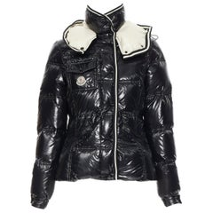 MONCLER black nylon down feather removable hood puffer jacket US0 XS