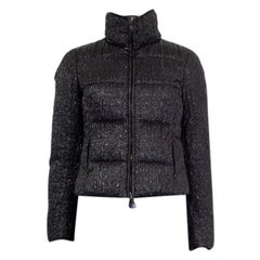 MONCLER black polyamide QUILTED CROPPED DOWN Jacket 1 XS