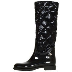 Moncler Black Rubber Rain Boots with Detachable Quilted Down sz 36