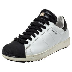 Moncler Black/White Leather Low Top Sneakers Size 42