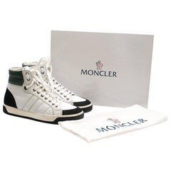Moncler Black & White Leather & Suede High Top Sneakers - Size 40