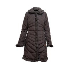 Moncler Brown Ruffle Trim Coat