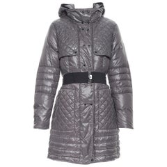 MONCLER Carson grey quilted genuine down feather padded puffer coat Sz. 2 M