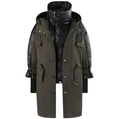 """MONCLER F/W 2018 """"Ocean Giubbotto"""" Olive Black Puffer Layer Belted Hooded Jacket"""
