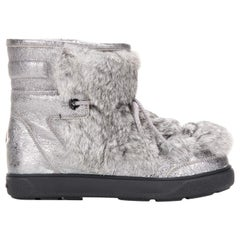Moncler Fanny Fur Paneled Glittered Leather Snow Boots