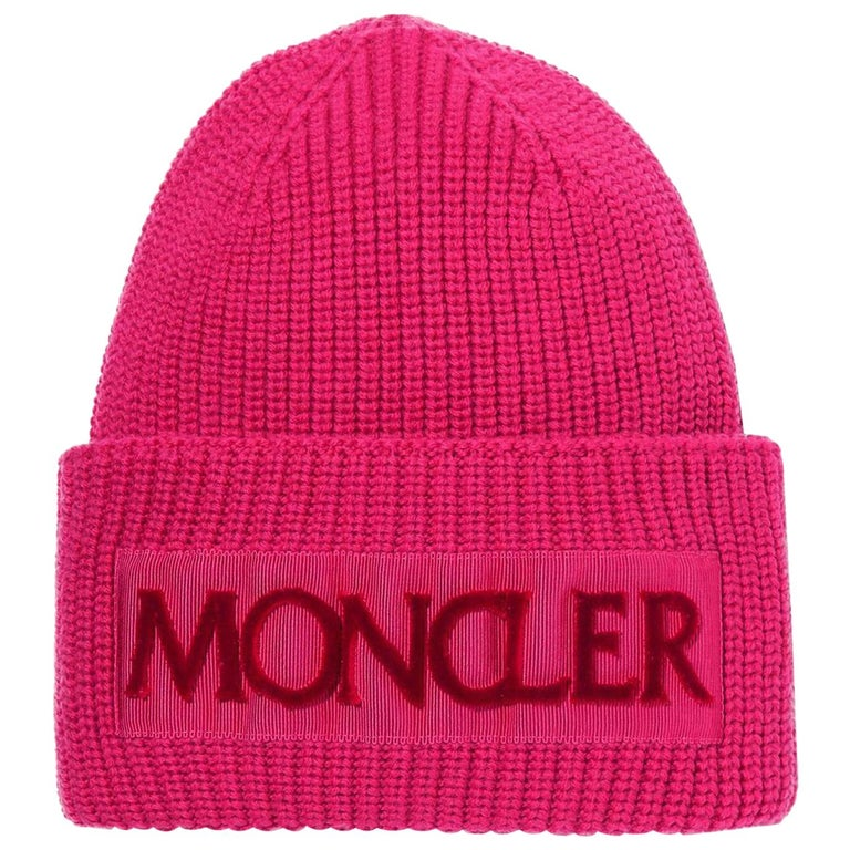 Moncler Flocked Grosgrain Trimmed Ribbed Wool Beanie For Sale
