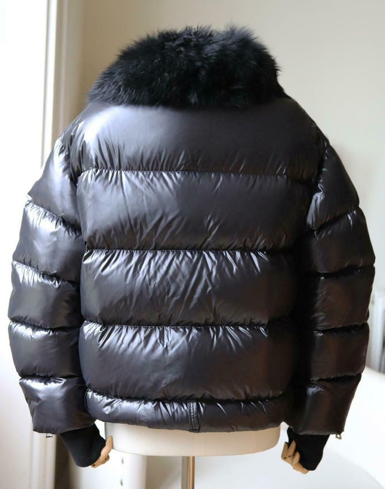 Black Moncler Foulque Shearling Trimmed Quilted Patent Shell Down Jacket