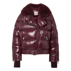 Moncler Foulque Shearling Trimmed Quilted Patent Shell Down Jacket