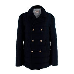 Moncler Gamme Bleu Navy Cashmere Padded Double Breasted Jacket - US 8