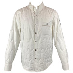 MONCLER GAMME BLEU Size L White Quilted Cotton Long Sleeve Shirt