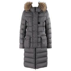 "MONCLER ""Genevrier"" Giubbotto Gray Fur Quilted Puffer Jacket Parka Coat Size ""2"""