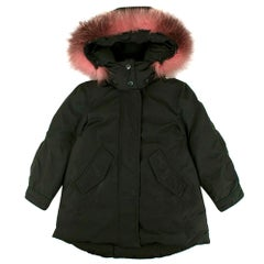 Moncler Green Fox Fur Trimmed Hooded Down Jacket - 4 Years