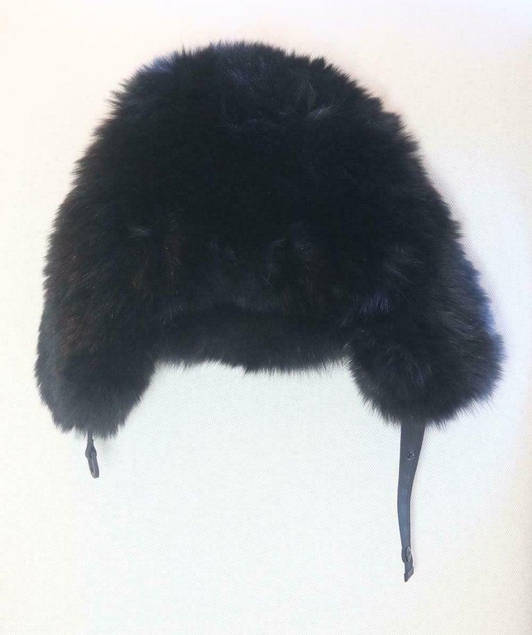 Black Moncler Grenoble Fox Fur Trimmed Trapper Hat For Sale