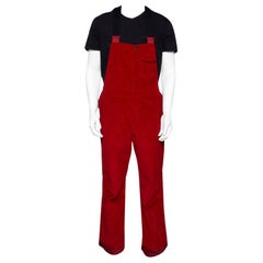 Moncler Grenoble Red Corduroy Straight Fit Overalls S