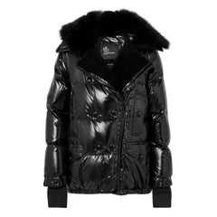 Moncler Grenoble Seelisberg Shearling-Trimmed Quilted Glossed-Shell Down Jacket