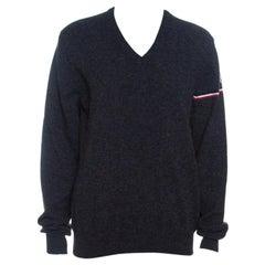 Moncler Grey Wool Stripe Detail Ribbed Trim V-Neck Sweater L