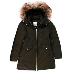 Moncler kids 16Y Green Fur Trimmed Down Coat - Size 16 Years