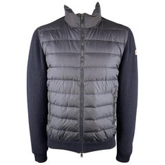MONCLER Maglione Tricot Size XXL Knitted Quilted Navy Poliamide Full Zip Jacket