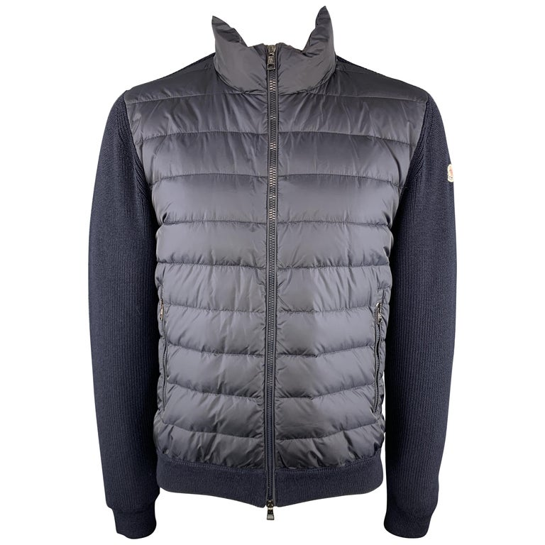 grande vendita c3e1a 9d721 MONCLER Maglione Tricot Size XXL Knitted Quilted Navy Poliamide Full Zip  Jacket