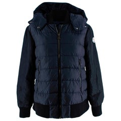 Moncler Navy Bomber Style Down Hooded Jacket - 14 Years