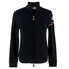 Moncler Navy Cotton Jersey Zipped Jacket - Size XS