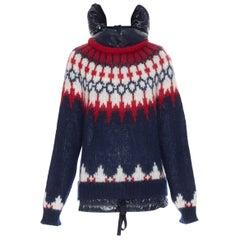 MONCLER navy white red fairisle knit detachable down puffer hood sweater XS