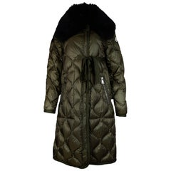 Moncler Olive Green Ceanothu Quilted Down Coat W/ Removable Fur Collar Sz 1 (S)