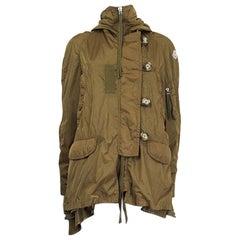 MONCLER olive green polyamide HOODED PARKA Windbreaker Coat Jacket 1 XS