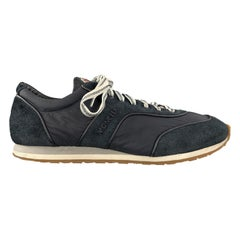 MONCLER Size 10 Navy Suede & Nylon Lace Up Sneakers