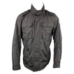 MONCLER Size L Black Polyamide Hooded Jacket
