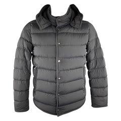 MONCLER Size L Black Quilted Stretch DOUDONE ELASTIQUE Hooded Down Jacket