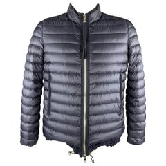 MONCLER Size XL Navy Quilted Goose Down High Neck Puffer Jacket