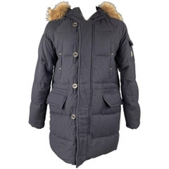 MONCLER Size XXL G32-003 Navy Quilted Wool Zip & Buttoned Hooded Parka Coat