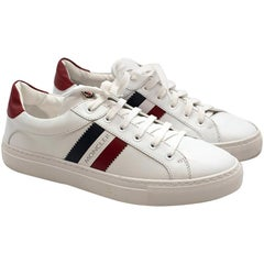 Moncler White Ariel Low-Top Leather Sneakers 38.5