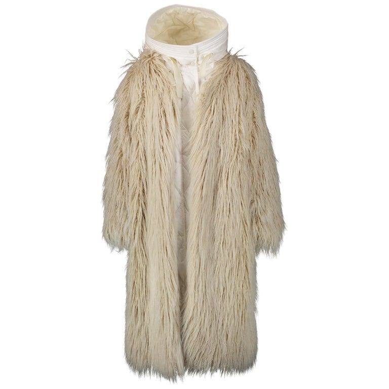 Moncler White Bouregreg Faux-shearling Overlay Quilted Coat - Size 0 For Sale