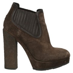 Moncler Woman Ankle boots Brown Leather IT 38