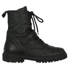 Moncler  Women   Ankle boots  Black Leather EU 38