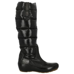 Moncler  Women   Boots  Black Synthetic Fibers EU 36