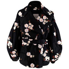 Moncler x Simone Rocha Black Floral Embroidered Belted Down Coat - Size US 0