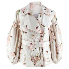 Moncler x Simone Rocha Ivory Floral Embroidered Belted Down Coat - Size 1Moncle