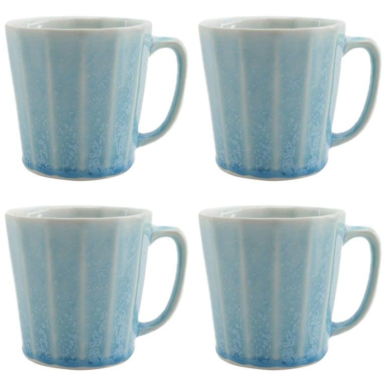 Monday Mug Crystal Blue Set of Four Coffee Mug Contemporary Glazed Porcelain For Sale