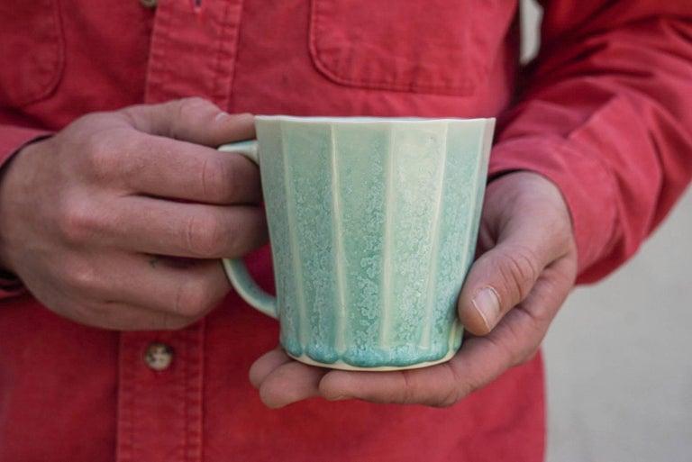 Mid-Century Modern Monday Mug Crystal Honey Set of Four Coffee Mug Contemporary Glazed Porcelain For Sale