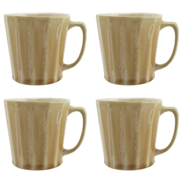 Monday Mug Crystal Honey Set of Four Coffee Mug Contemporary Glazed Porcelain For Sale