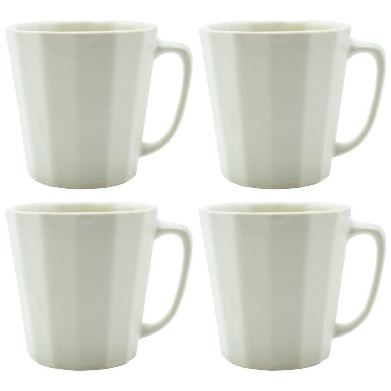Monday Mug White Matte Set of Four Coffee Mug Contemporary Glazed Porcelain For Sale