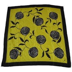 "Mondi ""Beautiful Olive Green & Black Floral Bloom"" Silk Scarf"