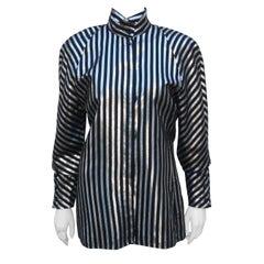 Mondi Tuxedo Style Silver Lamé & Black Stripe Top, 1980's