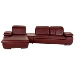 Mondo Clair Leather Soda Red Corner Sofa Couch Function