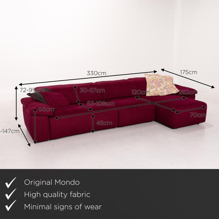 We present to you a Mondo fabric corner sofa electrical function purple berry relax function sofa.      Product measurements in centimeters:    Depth 118 Width 330 Height 72 Seat height 46 Rest height 56 Seat depth 63 Seat width