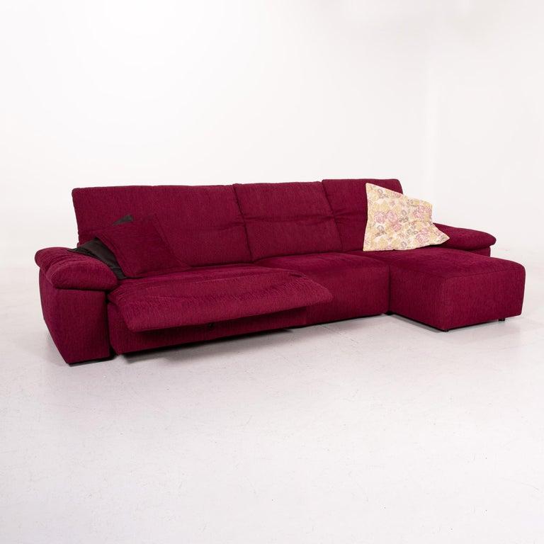 Modern Mondo Fabric Corner Sofa Electrical Function Purple Berry Relax Function Sofa